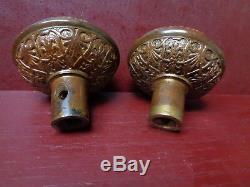 1 SET MORE AVAIL ANTIQUE BRONZE/BRASS Y&T DOOR KNOB'S 1870'S 1890's #021