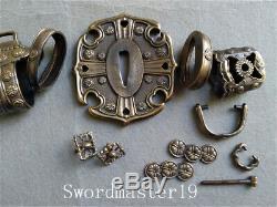 1 Set Antique Finished Brass Tachi Koshirae Fittings for Japanese Katana Sword