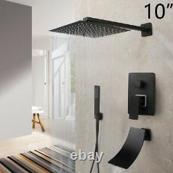 10 Black Rain Shower Faucet Set Square Head Bathroom Wall Mounted Tub Mixer Tap