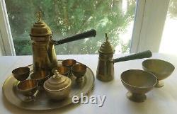 12 Pc Vintage Brass Turkish Tea Coffee Pot Set Islamic Arabic Turkish Set