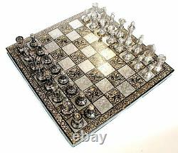 12Large Chess set for Adults Brass Metal Chess Board Piece Vintage contemporary
