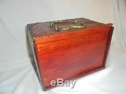 1920's MahJong set bone & bamboo in wood brass box vintage antique Mah jong