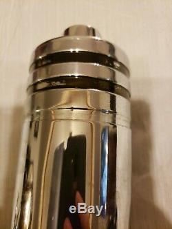 1930s Art Deco Evercraft Chrome Cocktail 6 Cups Goblets Tray Shaker Bar Set Rare