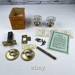 1950s Vintage Glass Door Knob MORTISE Latch Set Dominion Lock NEW OLD STOCK LotE