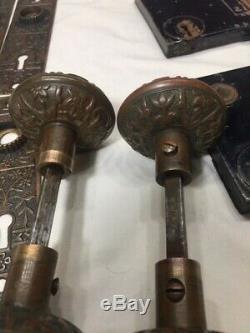 2 Matching Antique Victorian Door Knob Set Box Backplates Vintage Brass Bronze
