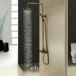 2-way Antique Brass Bathroom Shower Faucet Set 8 Rain Head Hand Spray Mixer Tap