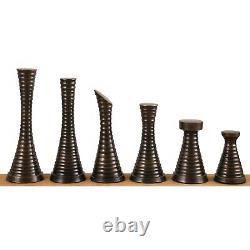 3.9 Modern Brass Metal Luxury Chess Pieces Only Set- Silver & Antique chessmen