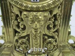3 Piece Garniture Mantle Set 5 arm Candelabras Clock Set Working Ornate Antique