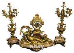 3 Piece Garniture Mantle Set Candelabras Lady Angel Hermle Clock Set Working WOW