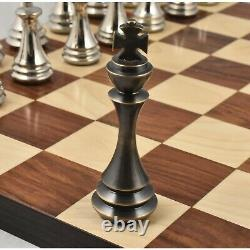 4.4 Russian Zagreb Brass Metal Luxury Chess Pieces only set Silver & Antique