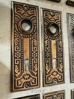 4 Set Eastlake Victorian Brass Plated Steel Plates Black Clay Door Knob Hardware