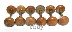 6 Matching Vintage Sets Of Wood Door Knobs With Brass Mounts