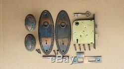 6 available Antique 1905 Vintage Brass Door Lockset Set Oval Knob Plate Lock Key