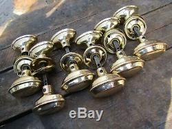 7 Sets of Salvaged 1920s Brass Door Handles lock key knob art deco nouveau key