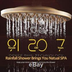 8 Antique Brass Shower Faucet Set Handheld Shower Tap Rainfall Wall Mounted