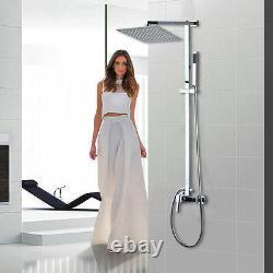 8 Bathroom Rain Shower Faucet Valve Mixer Hand Sprayer Wall Mount Tap Set