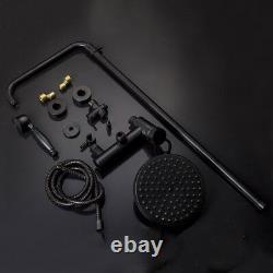 8'' Black Bathroom Shower Faucet Set Rain Shower Heads Wall Mount Tub Mixer Tap