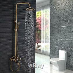 8 Inch Rain Shower Head Antique Brass Bathroom Shower Faucet Set Sprayer Mixer