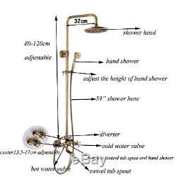 8 Rain Shower Head Faucet Set Wall Mount Mixer Tap Handheld Wand Shower Sprayer