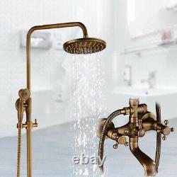 8'' Rainfall Shower Head Bathroom Shower Set Bathtub Mixer Taps Antique Brass