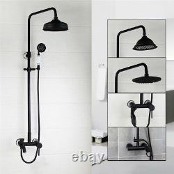 8 Round Bath Brass Faucet Set Wall Mounted Shower rainfall Mixer Bathroom Tap