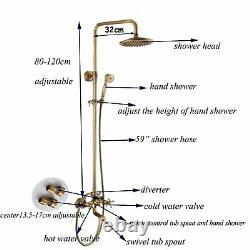 8 Wall Mount Shower Faucet Set Rainfall Head Hand Shower Tub Filler Mixer Tap
