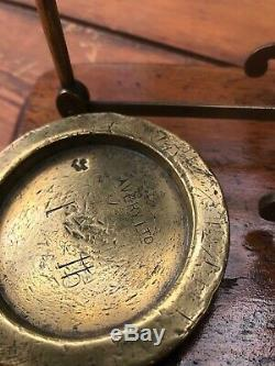 A Beautiful Old Set Of Antique Brass Avery Post Office Letter Scales & Weights