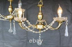 A STUNNING SET OF THREE MATCHING Brass & Crystal Chandeliers