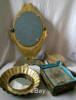ANTIQUE BRASS Vanity Set MIRROR Brush Powder Trinket Box EAGLE Enamel Dresser