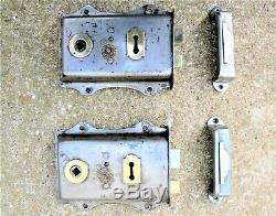ANTIQUE EDWARDIAN DOOR RIM LOCK SET escutcheon key brass handle keep knob hinge