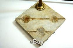 ANTIQUE FEDERAL BRASS FIREPLACE TOOL SET With MARBLE BASE HOLDER EARLY 1800'S