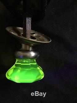 ANTIQUE Octagonal Glass DOOR KNOB Set URANIUM Vaseline yellow VICTORIAN ERA
