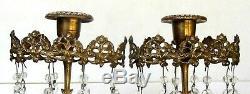 ANTIQUE ROCOCO-GIRANDOLE CRYSTAL-BRASS CANDELABRA-MARBLE-FILIGREE-SET of 2
