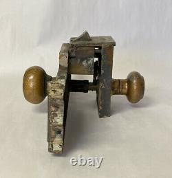 ANTIQUE RUSSELL & ERWIN TOULON GOTHIC ENTRY DOOR LOCK SET BRASS or BRONZE KEYS