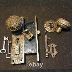 ANTIQUE Set Of Bronze DoorKnobs & Backplate & Rosette, Thumb Turn Knob $ 2 Keys