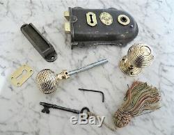 ANTIQUE VICTORIAN DOOR RIM LOCK SET H & T Vaughan Wolverhampton key handle keep