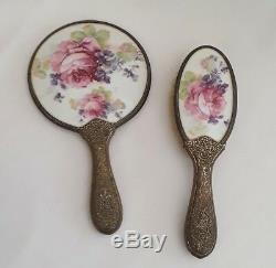ANTIQUE VICTORIAN PORCELAIN FLORAL HAND MIRROR & BRUSH SET Roses Violets BRASS