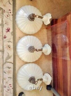Antique 1920 R Williamson Co Pendant Lights with Opal Glass Shades Set Of 3