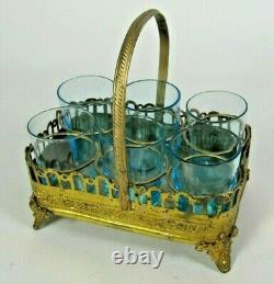 Antique 19thC French Gilt Brass Liquor Shot Glass Blue Set Paris Palais Royal