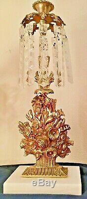 Antique 3pc Set Girandole Candelabras withCrystal Prisms, Gilded Brass on Marble