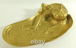 Antique Art Nouveau 8 Figural NUDE Woman Solid Brass Gold Inkwell Desk Set