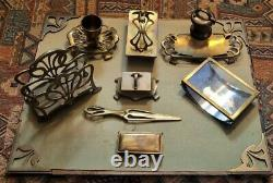 Antique Art Nouveau Brass Desk Set Letter Holder Opener Corners Blotter Inkwell+