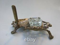 Antique Art Nouveau Brass Inkwell w Glass Ink Pot Pen Rest Desk Set Ornate