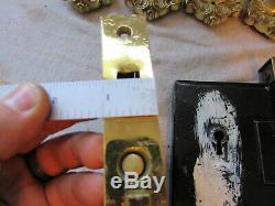Antique Barrows Lock Brass Victorian Provincial Pocket Door Set with Key