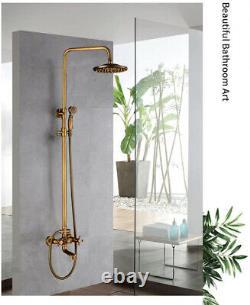 Antique Bathroom Shower Faucet Vintage 2 Cross Knob Wall Mounted Mixer Combo Set