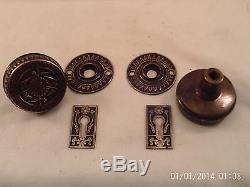 Antique Branford Cast Brass Bronze Door Knob Set Mortise Lock doorz2. Co #733