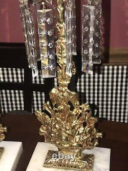 Antique Brass 2pc set GIRANDOLE Candelabra's Flower baskets