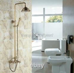 Antique Brass 8 Rainfall Bathroom Rain Shower Faucet Set Mixer Tap yrs109