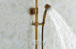 Antique Brass 8Rainfall Shower Faucet Set Dual Handles Mixer Tap WithHand Shower