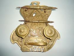 Antique Brass ART NOUVEAU Writers Desk Set Inkwell ink blotter Nancy 1914 1917